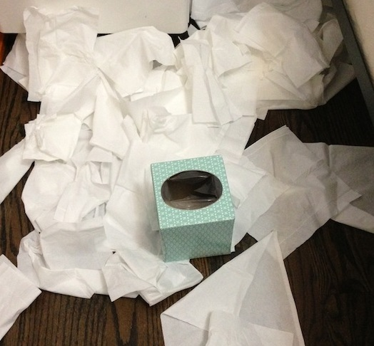 tissues on floor